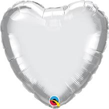 "Chrome Silver Qualatex Plain Coloured Heart 18"" Foil 