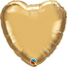 "Chrome Gold Qualatex Plain Coloured Heart 18"" Foil 