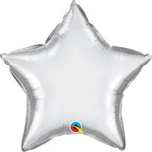 "Chrome Silver Qualatex Plain Coloured Star 20"" Foil 