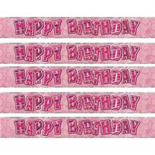 Pink Glitz Party Happy Birthday Foil Banner | Decoration