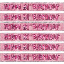 Pink Glitz Party 21st Birthday Foil Banner | Decoration