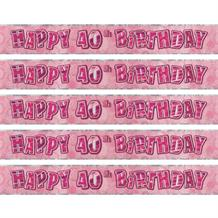 Pink Glitz Party 40th Birthday Foil Banner | Decoration
