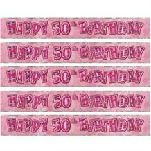 Pink Glitz Party 50th Birthday Foil Banner | Decoration