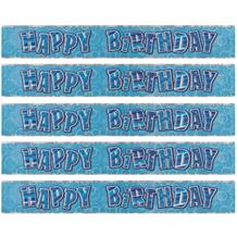 Blue Glitz Party Happy Birthday Foil Banner | Decoration