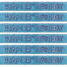 Blue Glitz 18th Birthday Party Foil Banner | Decoration