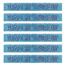 Blue Glitz 21st Birthday Party Foil Banner | Decoration