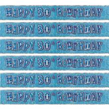 Blue Glitz 30th Birthday Party Foil Banner | Decoration