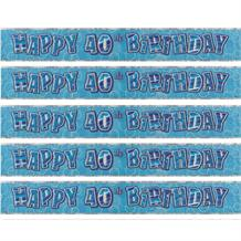 Blue Glitz 40th Birthday Party Foil Banner | Decoration