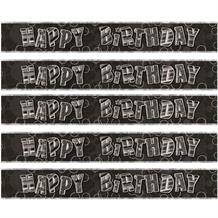 Black Glitz Happy Birthday Foil Banner | Decoration
