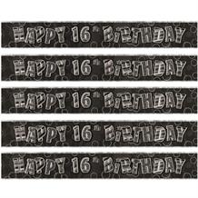 Black Glitz 16th Birthday Foil Banner | Decoration