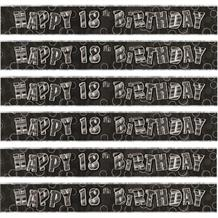 Black Glitz 18th Birthday Foil Banner | Decoration