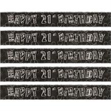 Black Glitz 21st Birthday Foil Banner | Decoration