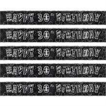 Black Glitz 30th Birthday Foil Banner | Decoration