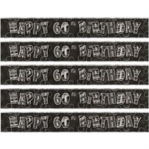 Black Glitz 60th Birthday Foil Banner | Decoration