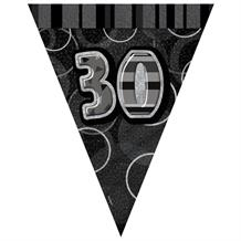 Black Glitz 30th Birthday 9ft Flag Banner | Bunting