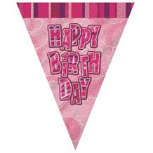 Pink Glitz Happy Birthday 9ft Flag Banner | Bunting