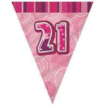 Pink Glitz 21st Birthday 9ft Flag Banner | Bunting