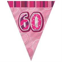 Pink Glitz 60th Birthday 9ft Flag Banner | Bunting