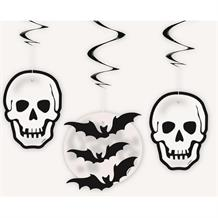 Skull and Bat Halloween Party Hanging Swirl Decorations