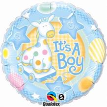 "It's a Boy Blue Giraffe Baby Shower 18"" Foil 