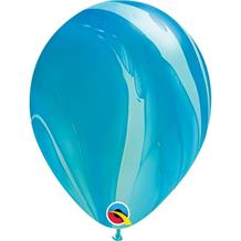 "Blue Colours SuperAgate Marble 11"" Qualatex Decorator Latex Party Balloons"