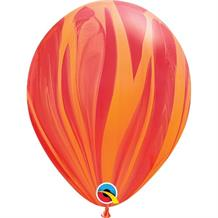 "Red and Orange Colours SuperAgate Marble 11"" Qualatex Decorator Latex Party Balloons"