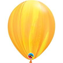 "Yellow and Orange Colours SuperAgate Marble 11"" Qualatex Decorator Latex Party Balloons"