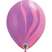 "Pink and Violet Colours SuperAgate Marble 11"" Qualatex Decorator Latex Party Balloons"