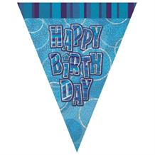 Blue Glitz Happy Birthday 9ft Flag Banner | Bunting