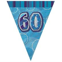 Blue Glitz 60th Birthday 9ft Flag Banner | Bunting