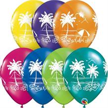 "Tropical | Hawaiian | Palm Tree 11"" Qualatex Latex Party Balloons"