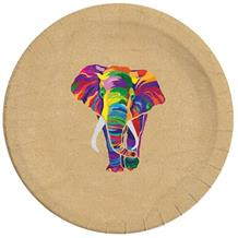 Colourful Elephants 23cm Party Compostable Recyclable Plates