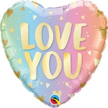 "Love You Pastel Ombre Hearts 18"" Foil 
