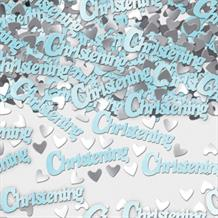 Blue and Silver Hearts Christening Table Confetti | Decoration
