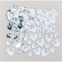 Silver Loving Heart Table Confetti | Decoration