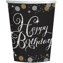Gold Sparkle Happy Birthday Party Cups