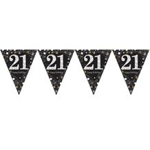 Gold Sparkle 21st Birthday Flag Banner | Bunting