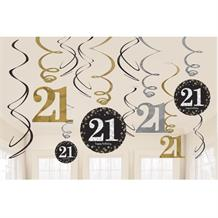 Gold Sparkle 21st Birthday Hanging Swirl Decorations