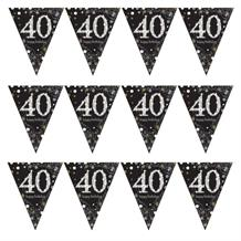 Gold Sparkle 40th Birthday Flag Banner | Bunting