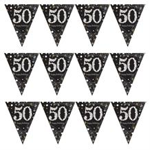Gold Sparkle 50th Birthday Flag Banner | Bunting