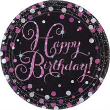 Pink Sparkle Happy Birthday Party Plates