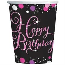 Pink Sparkle Happy Birthday Party Cups