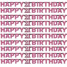 Pink Sparkle 21st Birthday Paper Letter Banner