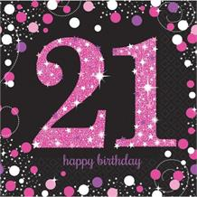 Pink Sparkle 21st Birthday Party Napkins
