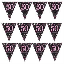 Pink Sparkle 50th Birthday Flag Banner | Bunting