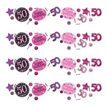 Pink Sparkle 50th Birthday Party Table Confetti | Decoration