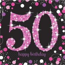 Pink Sparkle 50th Birthday Party Napkins