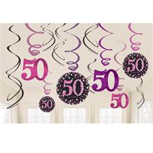 Pink Sparkle 50th Birthday Hanging Swirl Decorations