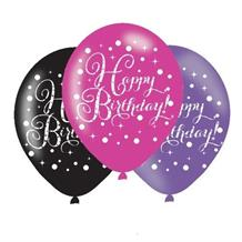 Pink Sparkle Happy Birthday Latex Party Balloons