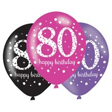 Pink Sparkle 80th Birthday Latex Party Balloons